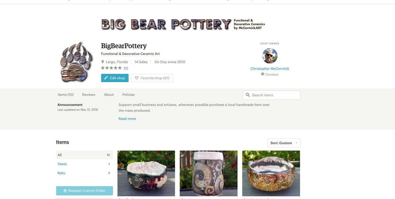 Big Bear Pottery Etsy